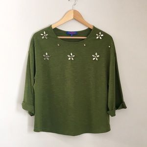 Twiggy London Moss Green Jeweled Top